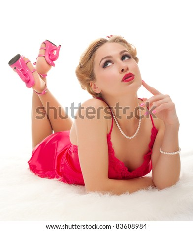 Pretty woman on white background