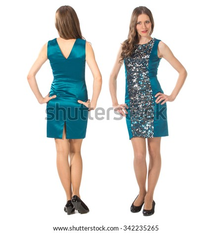 Pretty woman posing in blue dress. Front and back view. Isolated on white.