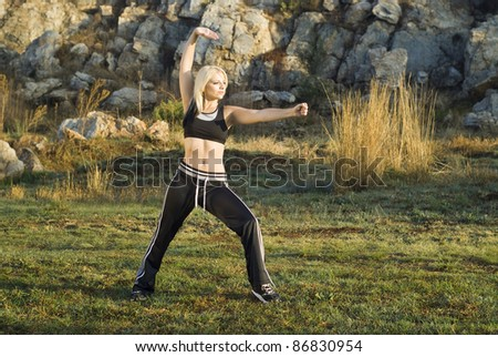 Pretty woman practicing exercise tai chi, kung fu or yoga in natural park - stock photo