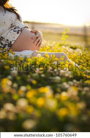 Pretty woman pregnant sit on the grass in the sunset light - stock photo