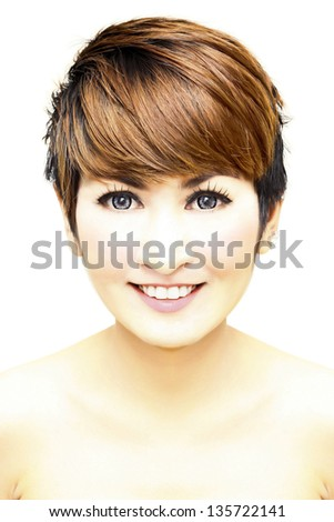 Pretty woman short hair smiling on white background. - stock photo
