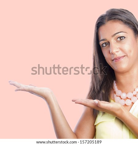 pretty woman showing gesture - stock photo