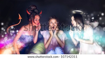 Pretty woman sitting at home. Angel and Devil talking o her trying to get her by their side. She is hesitating. Lots of copyspace. - stock photo