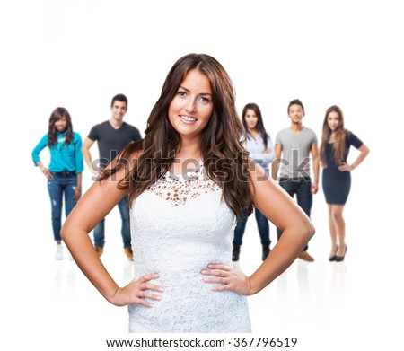 pretty woman smiling on white background - stock photo