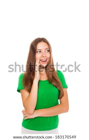 pretty woman speaking whispering, young student girl hold hand palm near open mouth shouting, calling out to someone, talking gossip, wear green shirt isolated over white background - stock photo