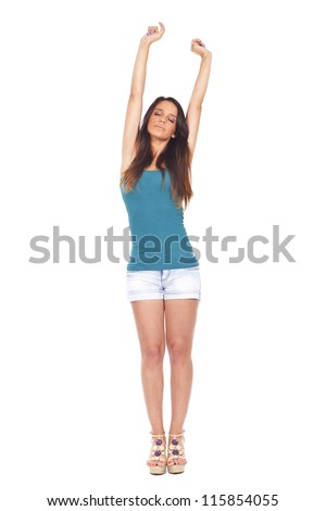 Pretty woman stretching, photo in studio... - stock photo
