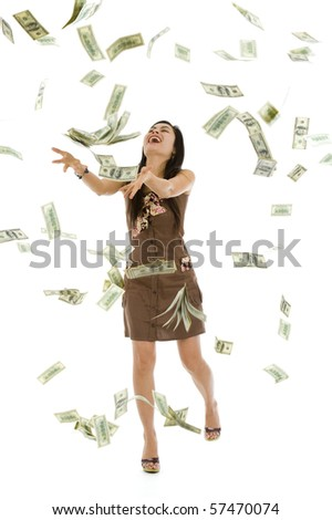 pretty woman throwing 100 dollar bills, isolated on white background