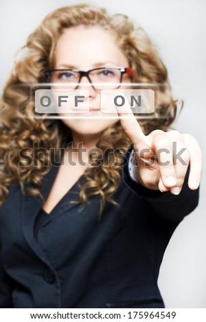 Pretty Woman touching on empty space - stock photo