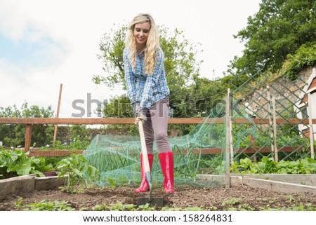 Pretty woman using a rake in the garden - stock photo