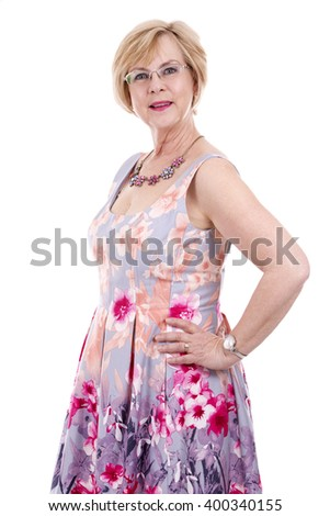 pretty woman wearing flower dress on white isolated background - stock photo
