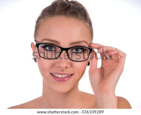 pretty woman wearing glasses / Glasses - stock photo