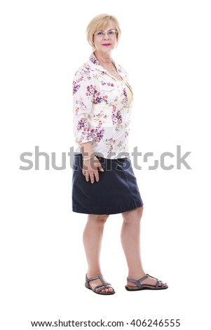 pretty woman wearing summer outfit on white isolated background - stock photo