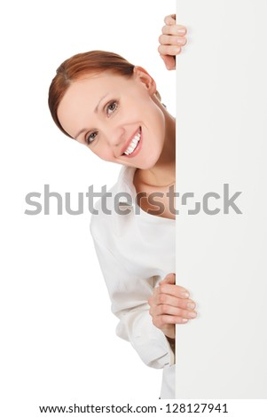 Pretty woman with a blank presentation board, white background