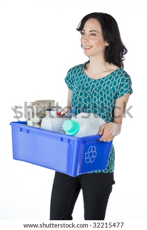 Pretty woman with a blue recycling box full of recyclables