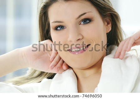 pretty woman with a natural and beauty spirit - stock photo