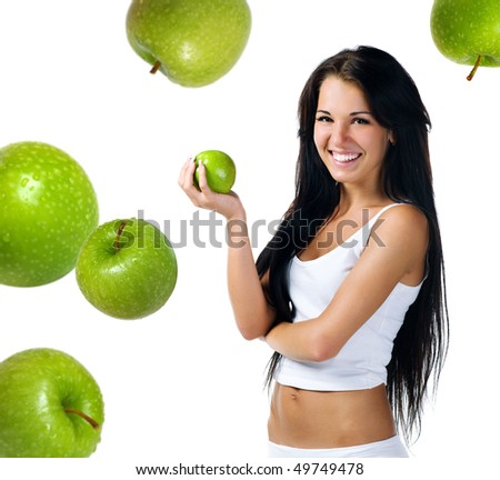 Pretty woman with apple on white background - stock photo