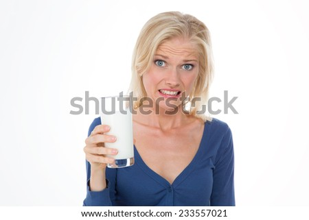 pretty woman with bellyache because she i??s intolerance to lactose - stock photo