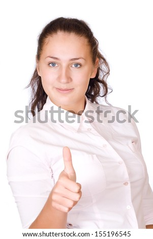 Pretty woman with blouse shows OK isolated - stock photo