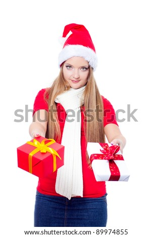 pretty woman with christmas gifts - isolated