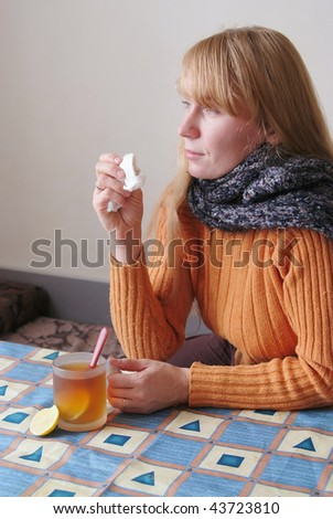 Pretty woman with cold and flu
