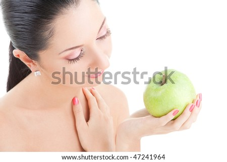 pretty woman with green apple isolated over white background