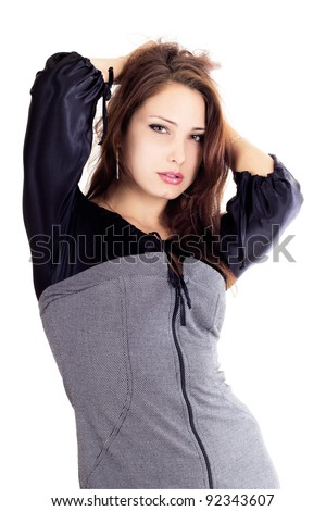 Pretty woman with hands up  isolated on white - stock photo
