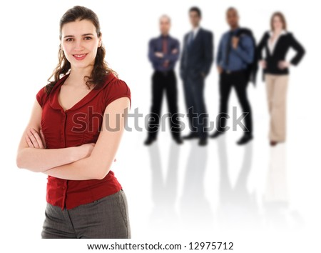 Pretty woman with her business team on white - stock photo