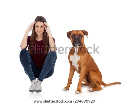 Pretty woman with her dog sitting on the floor isolated on white background