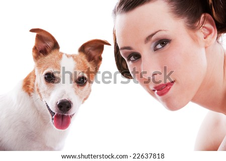 Pretty woman with her jack russel terrier on white background - stock photo