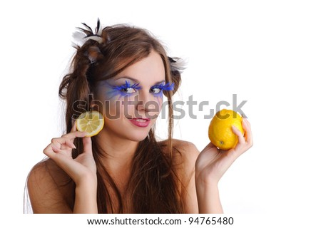 pretty woman with lemon earring, isolated on white