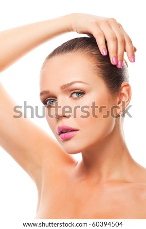 pretty woman with pink nails and lips isolated on white background - stock photo