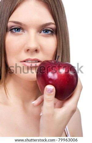 pretty woman with red apple, beauty portrait