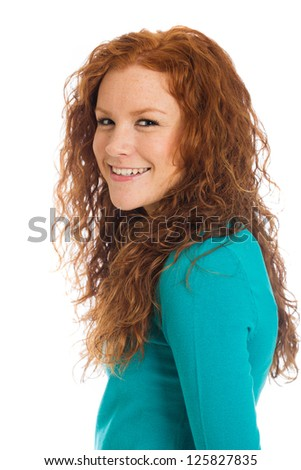 Pretty woman with red hair - stock photo