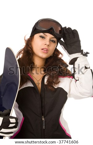 pretty woman with snowboard isolated on white