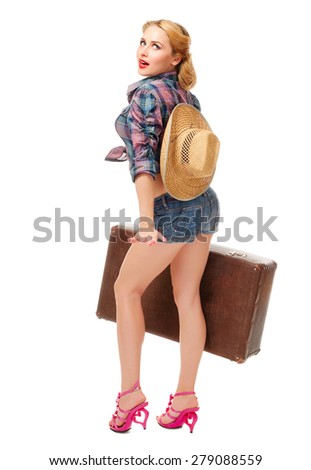Pretty woman with suitcase isolated - stock photo