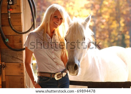 Pretty Woman with White Gray Horse - stock photo