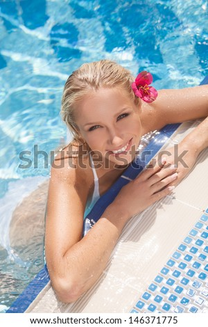 Pretty women in pool. Top view of attractive young women in bikini smiling at camera while standing in pool - stock photo