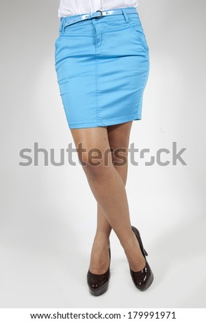 pretty women in skirt on white background back and front views - stock photo