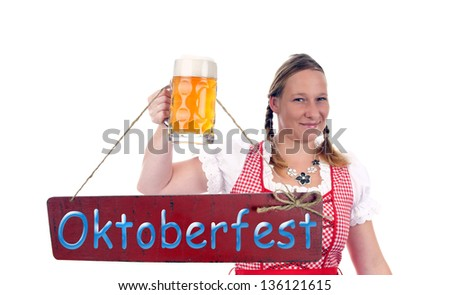 pretty women with beer mug and plate - Oktoberfest / munich beer festival - stock photo