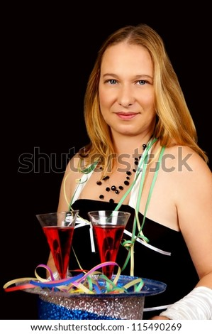 pretty women with champagne glass / new years eve