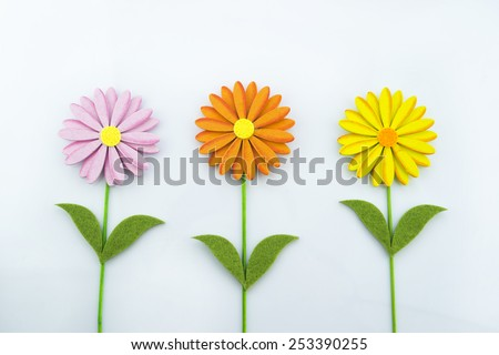 Pretty wooden flowers on a white background.
