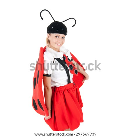 pretty young actress in the costume of the ladybird - stock photo