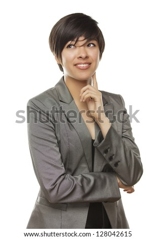 Pretty Young Adult Mixed Race Adult Looking to the Side Isolated on a White Background. - stock photo