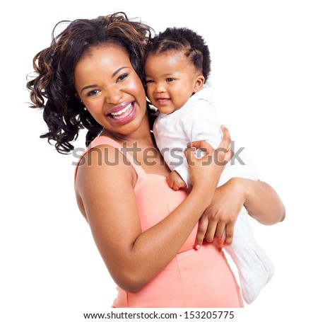 pretty young african american mother holding her five month baby isolated on white