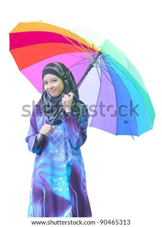 Pretty young Asia Muslim woman hold on umbrella in action with isolated on white background. - stock photo