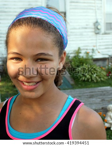 Pretty, Young, Biracial Girl Smiling