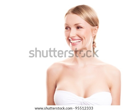 pretty young blond woman with beautiful big breast, looking to the side, copyspace for a text - stock photo