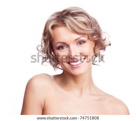 pretty young blond woman with curly hair, isolated against white - stock photo