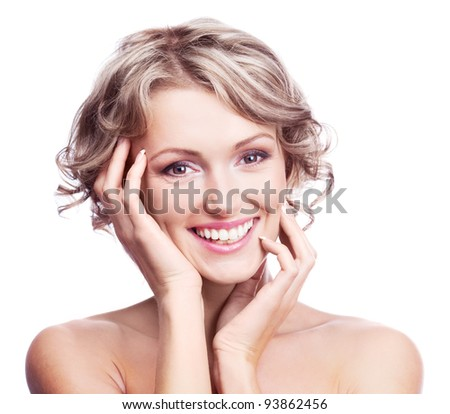 pretty young blond woman with curly hair, isolated against white background - stock photo