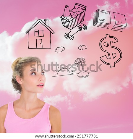 Pretty young blonde in pink looking up against cloudy sky - stock photo